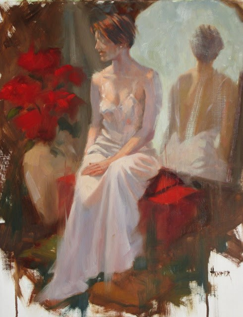 """""""Dressed in Pink  14in x 18in   oil on linen"""" original fine art by Claudia Hammer"""