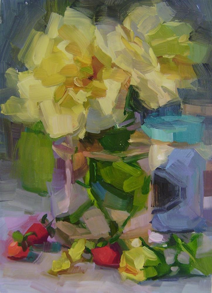 """""""Yellow Roses"""" original fine art by Holly Storlie"""