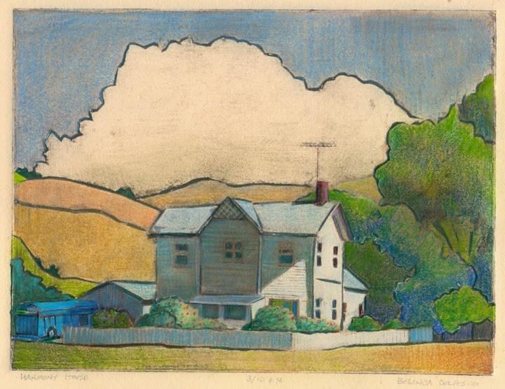"""""""Mat Board Collagraph: Harmony House (& a new process video)"""" original fine art by Belinda Del Pesco"""
