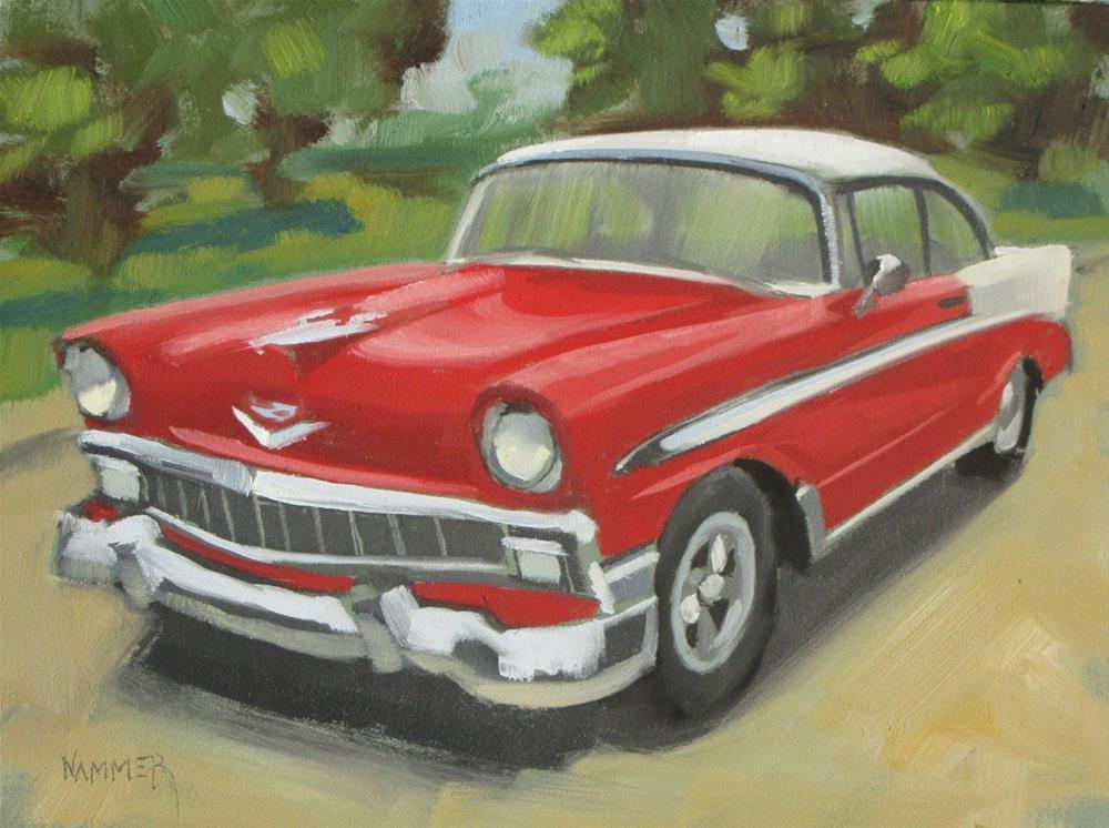 """1956 Chevy Belair  6 x 8  oil"" original fine art by Claudia Hammer"
