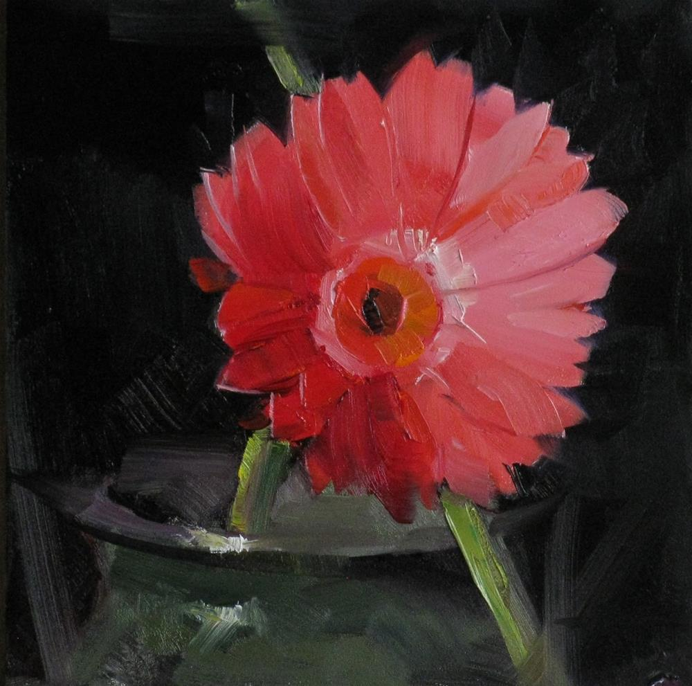 """""""Red Daisy Study 1"""" original fine art by Qiang Huang"""