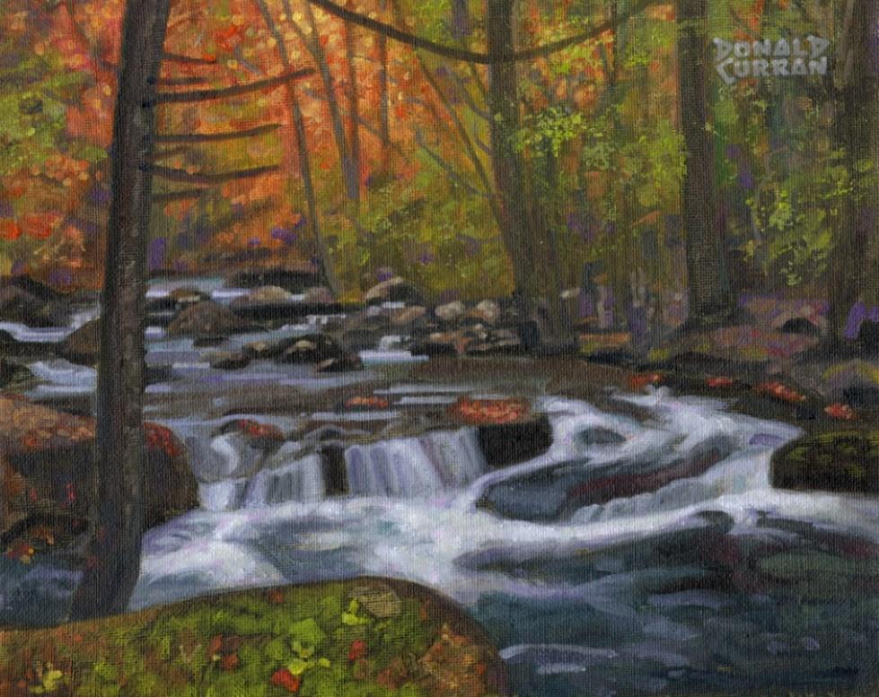 """Autumn Stream"" original fine art by Donald Curran"