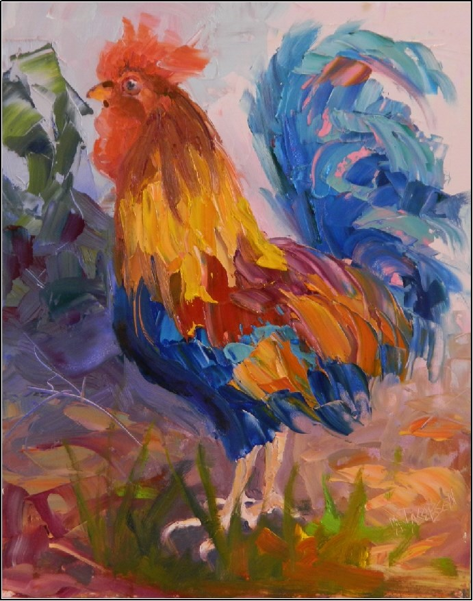 """Hen-Pecked, 11x14, oil on panel, paintings of roosters, palette knife paintings, colorful painting"" original fine art by Maryanne Jacobsen"