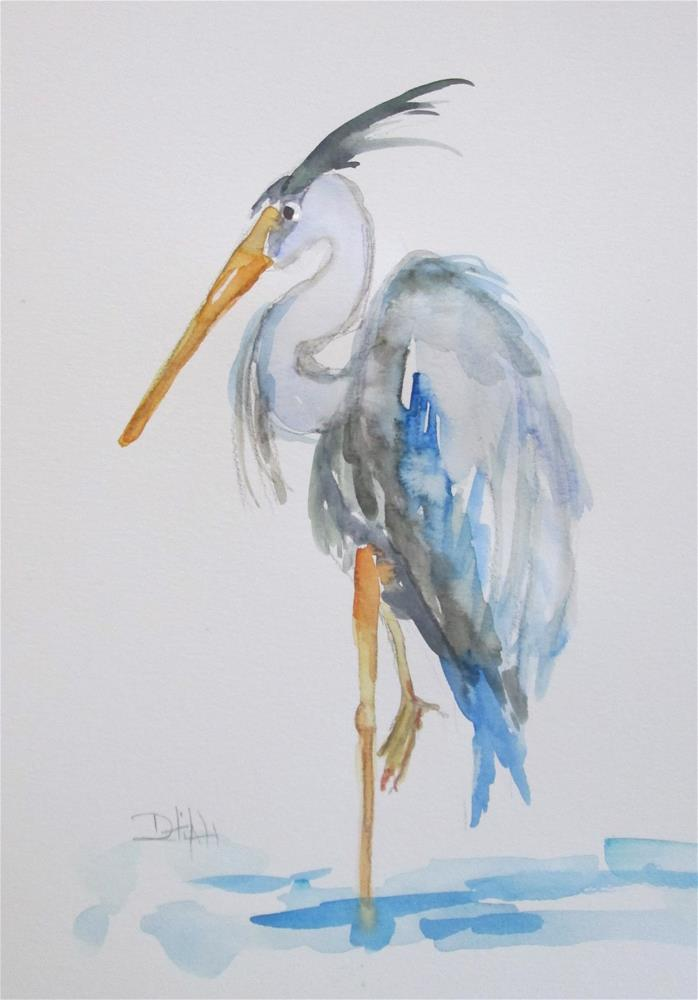 """Ble Heron No. 5"" original fine art by Delilah Smith"