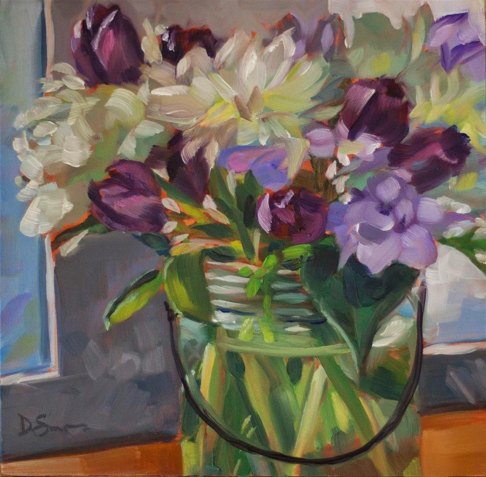 """""""Tulips and Peonies"""" original fine art by Deborah Savo"""
