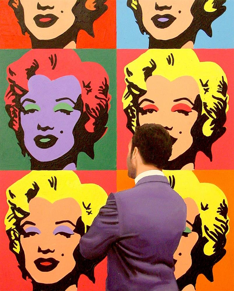 """Marilyn Monroe- Painting Of Man Enjoying Painting Of Marilyn Monroe By Andy Warhol"" original fine art by Gerard Boersma"