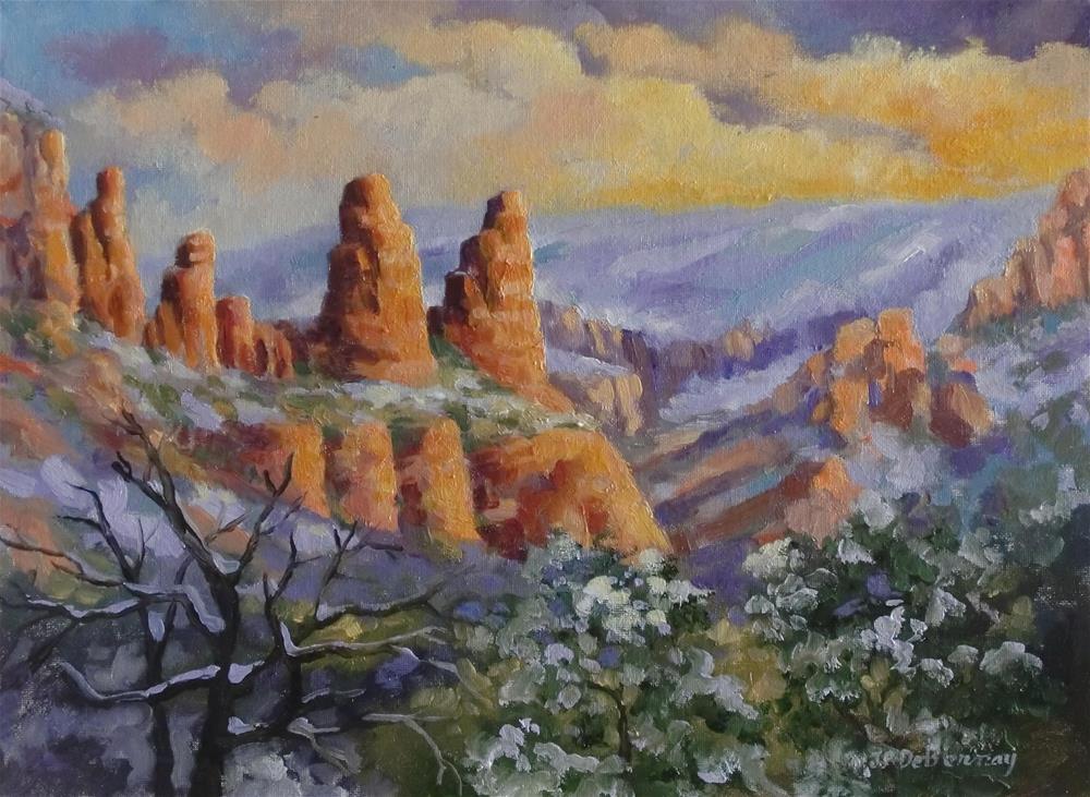 """The Sisters in Snow, Sedona"" original fine art by Jean Pierre DeBernay"