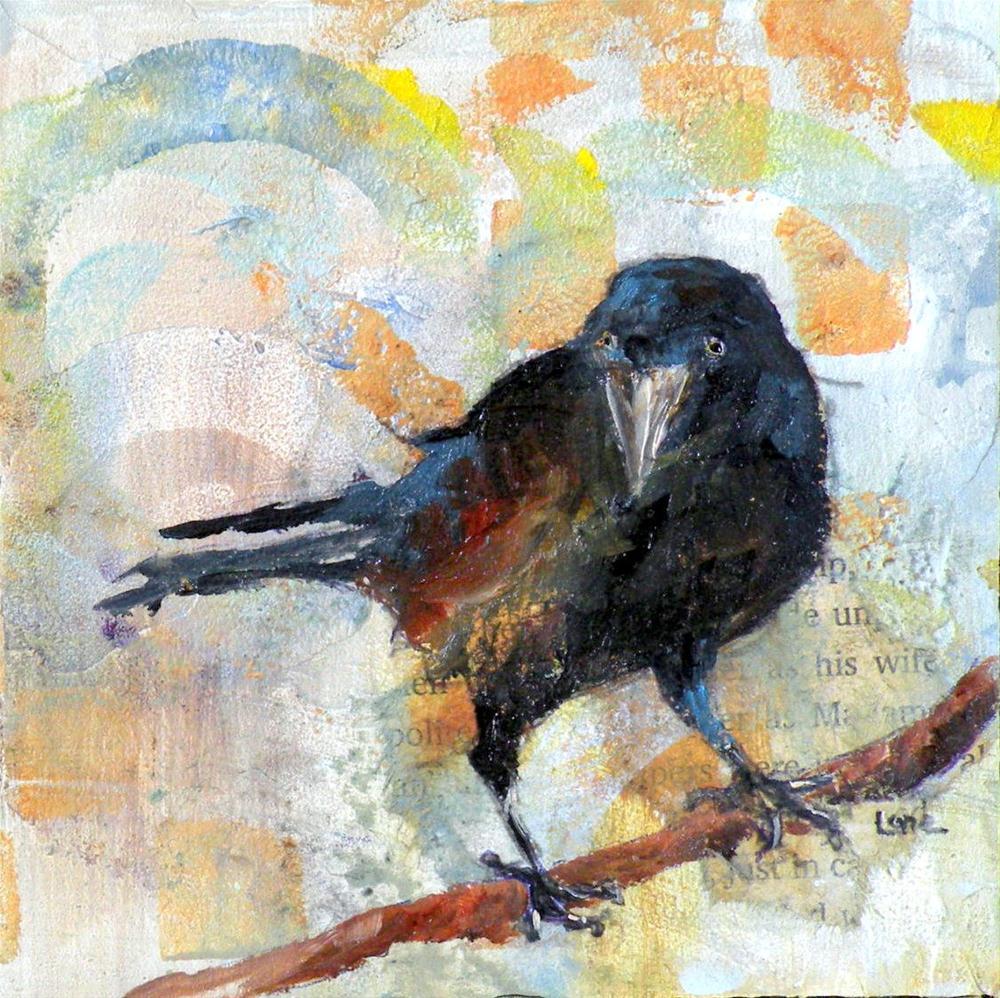 """Crow ORIGINAL MIXED MEDIA MINI © SAUNDRA LANE GALLOWAY"" original fine art by Saundra Lane Galloway"