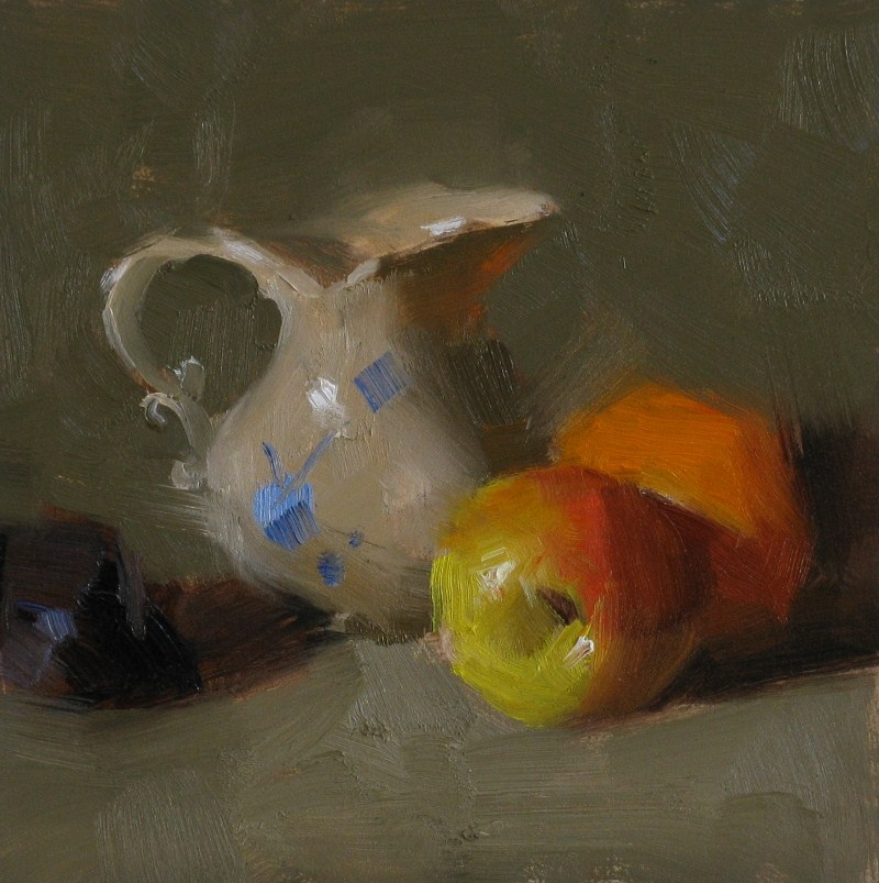 """""""Apple and Orange"""" original fine art by Qiang Huang"""