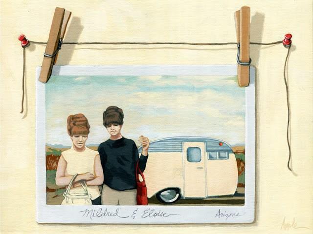 """Vintage Campers - women on vacation original painting"" original fine art by Linda Apple"
