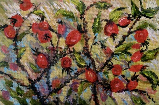 """Rose Hip Medley"" original fine art by Jackie Irvine"