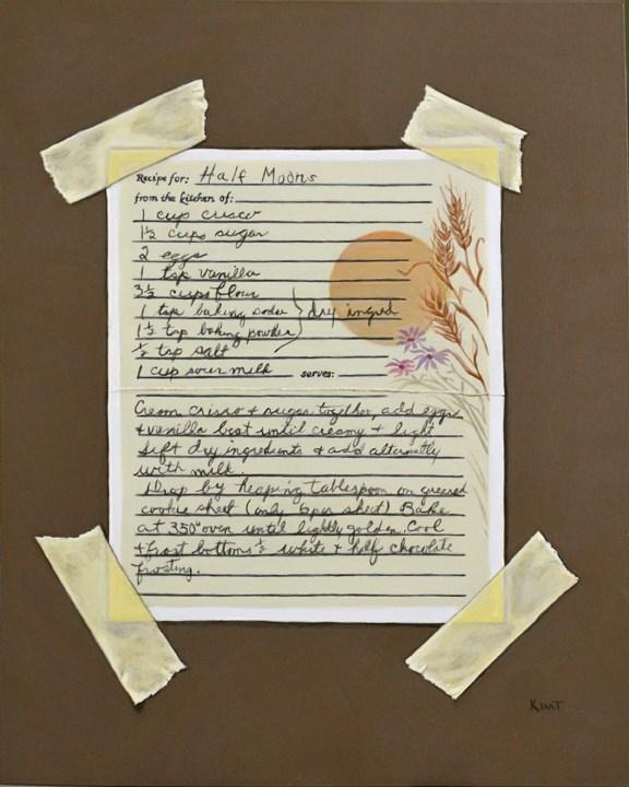 """Half Moons Cookie Recipe"" original fine art by Kim Testone"