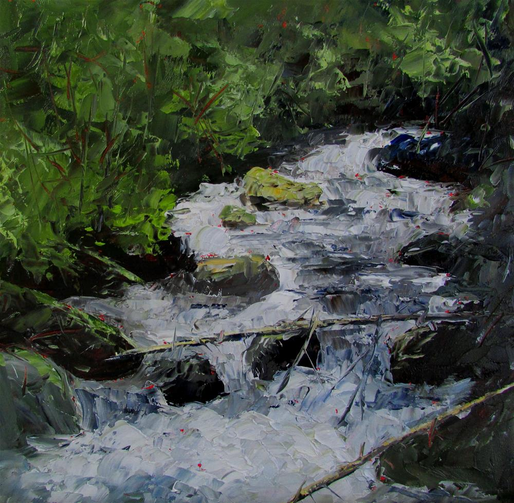 """8 x 8 inch waterfall at Narrow's Inlet"" original fine art by Linda Yurgensen"
