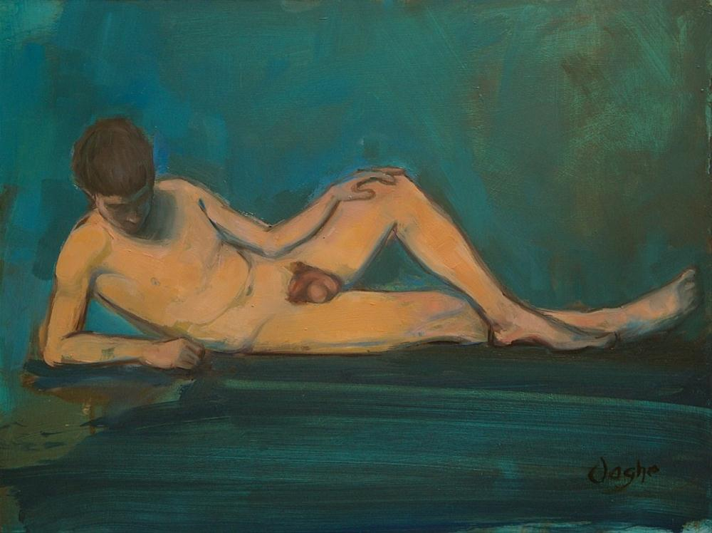 """Young Man Reclining, After Thomas Eakins"" original fine art by Angela Ooghe"