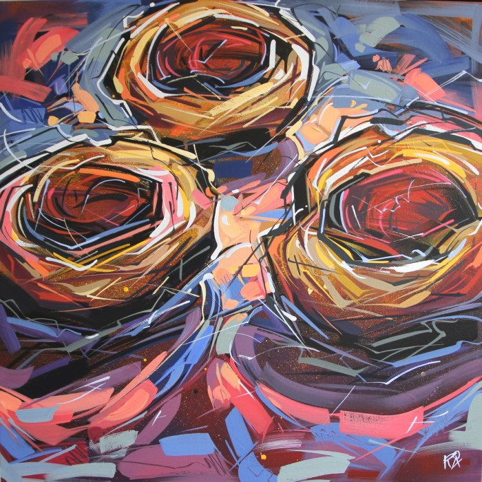 """Bird's nest abstraction 55"" original fine art by Roger Akesson"