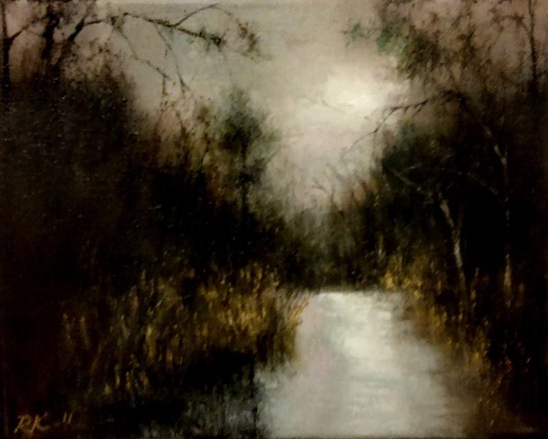 """Dark Trees by the River"" original fine art by Bob Kimball"