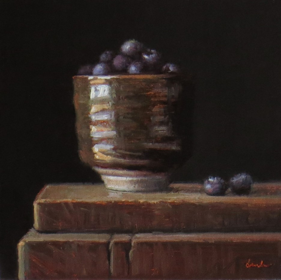 """Sedona Light: Still Life with Teacup and Blueberries"" original fine art by Darla McDowell"