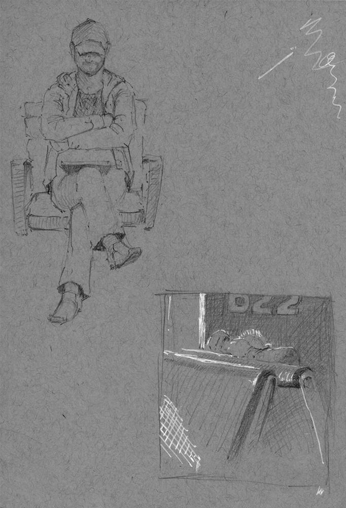 """""""Sketching at the airport"""" original fine art by Susan Matteson"""