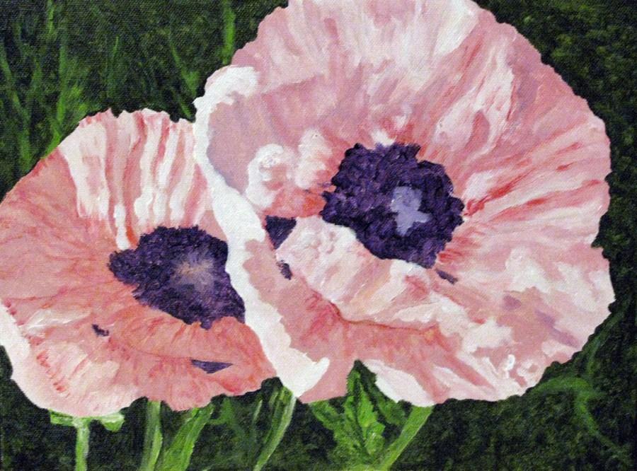 """Pink Poppies"" original fine art by Nan Johnson"