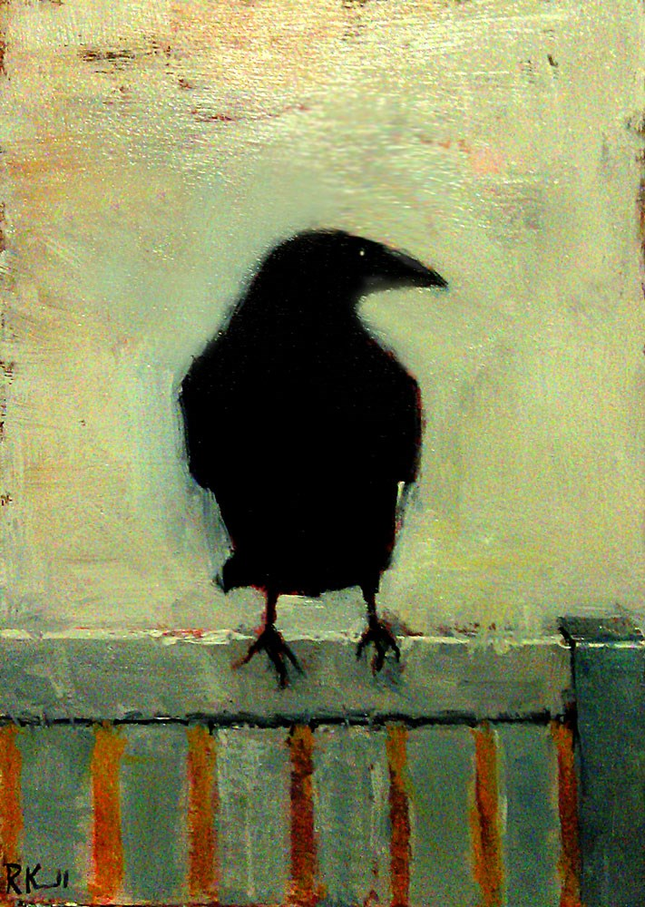 """""""A Raven on the Fence"""" original fine art by Bob Kimball"""