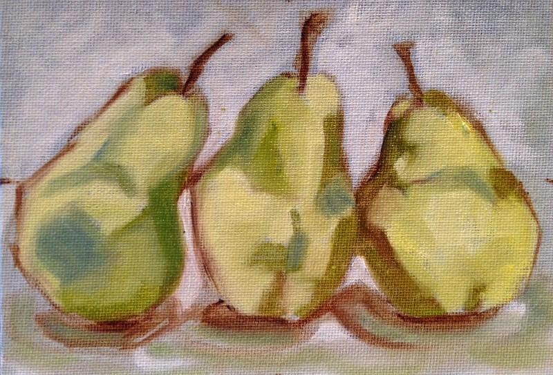 """""""Three-Pear Study I"""" original fine art by Beth Moreau"""