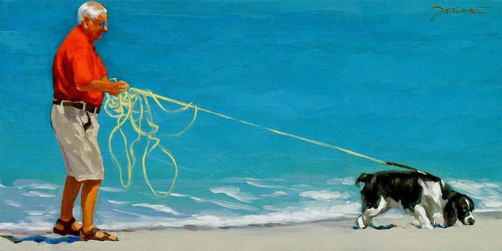"""Under Control--Series Painting of Dog & Owner"" original fine art by Joanna Bingham"