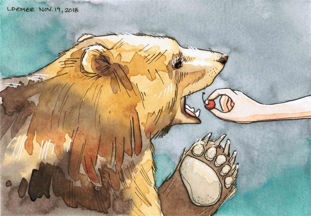 """Don't Feed the Bears"" original fine art by Liz Demer"