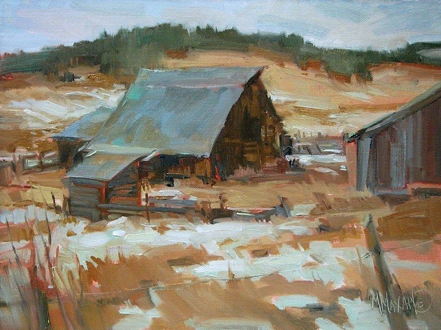 """""""Winter Barn and Painting Without Solvents"""" original fine art by Mary Maxam"""