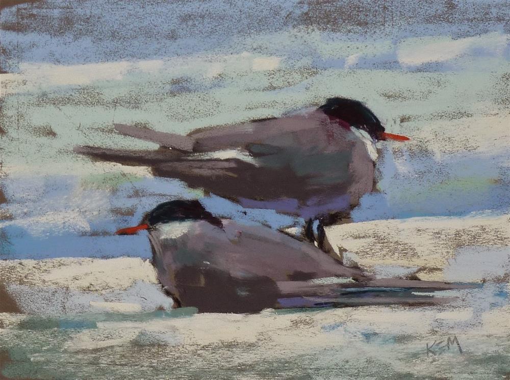 """Painting the Amazing Arctic Terns"" original fine art by Karen Margulis"