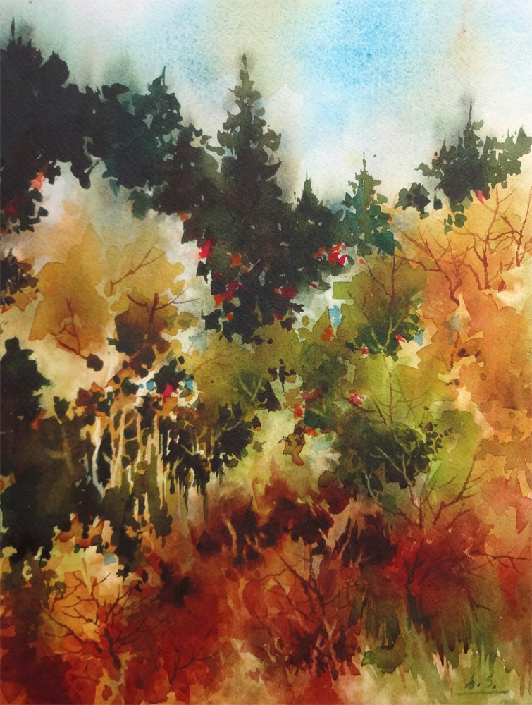 """Woodland Fall"" original fine art by Arena Shawn"