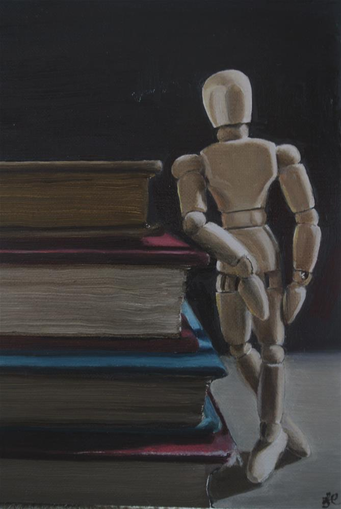 """Model and Books"" original fine art by James Coates"