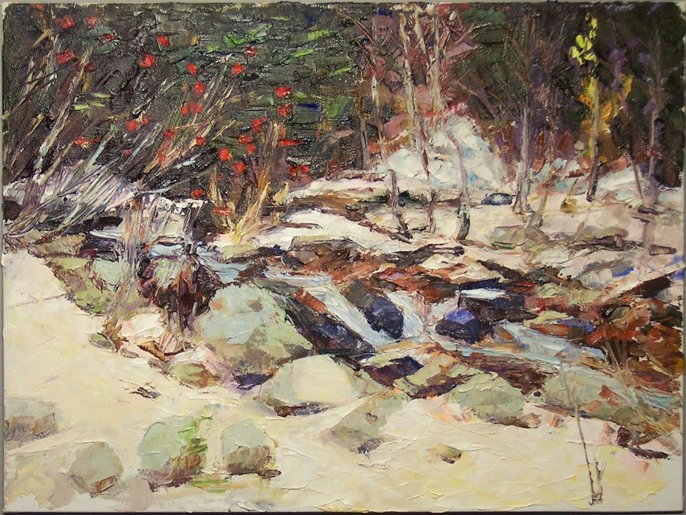 """Winter Creek.landscape,oil on canvas,16x20price NFS"" original fine art by Joy Olney"
