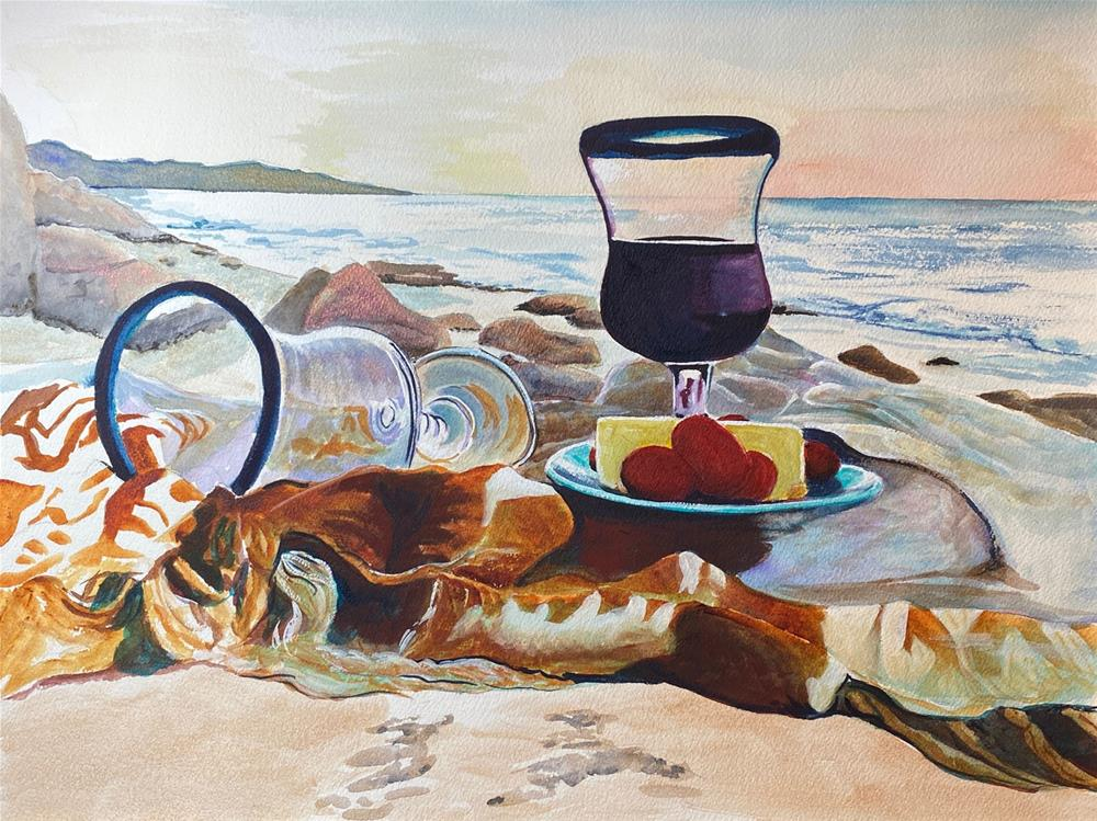 """Picnic on Beach"" original fine art by Bunny Griffeth"