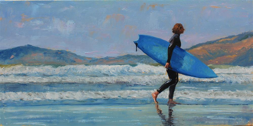 """Surfer walk"" original fine art by Marco Vazquez"