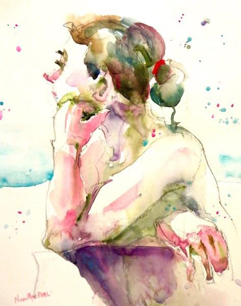 """turquoise splatter"" original fine art by Nora MacPhail"