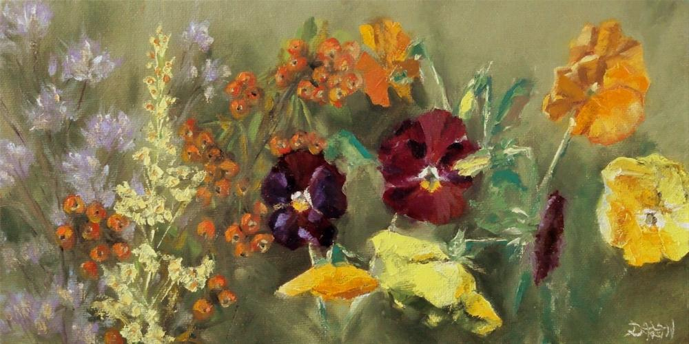 """Pansies, Berries, and Wildflowers"" original fine art by Dalan Wells"