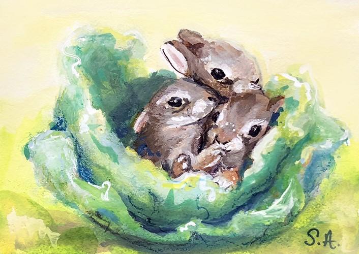 """Three li'l bunnies"" original fine art by Sunny Avocado"