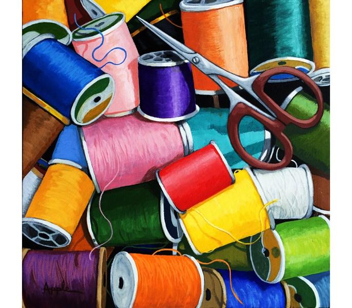 """Colorful Sewing thread & scissors ORIGINAL realistic still life painting by Linda Apple"" original fine art by Linda Apple"