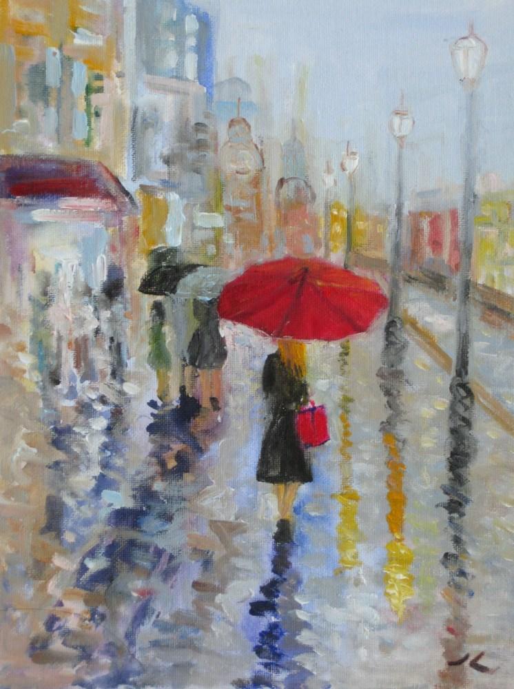 """Walking in the rain"" original fine art by Julia Lu"