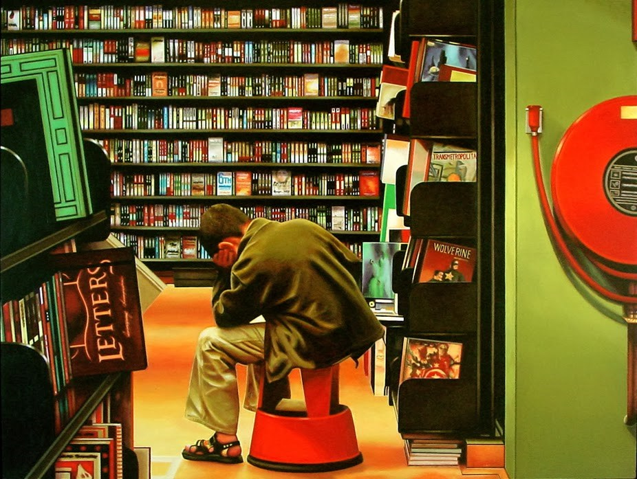 """""""The Thinker- Painting Of A Young Man Reading In Bookstore"""" original fine art by Gerard Boersma"""