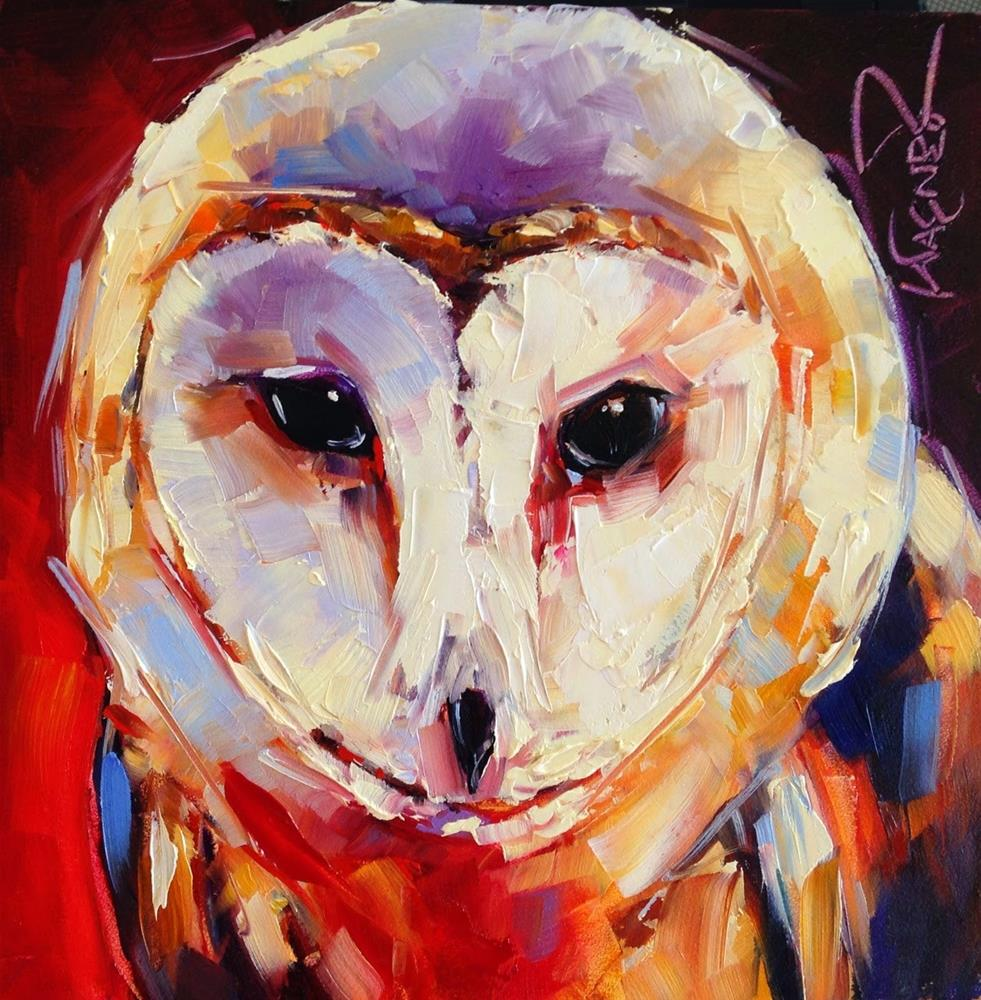 """Loving Color Day 3 - ORIGINAL BARN OWL PAINTING in OILS by OLGA WAGNER"" original fine art by Olga Wagner"