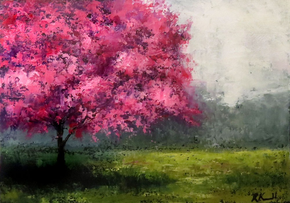 """Red-bud Tree in the   Park"" original fine art by Bob Kimball"