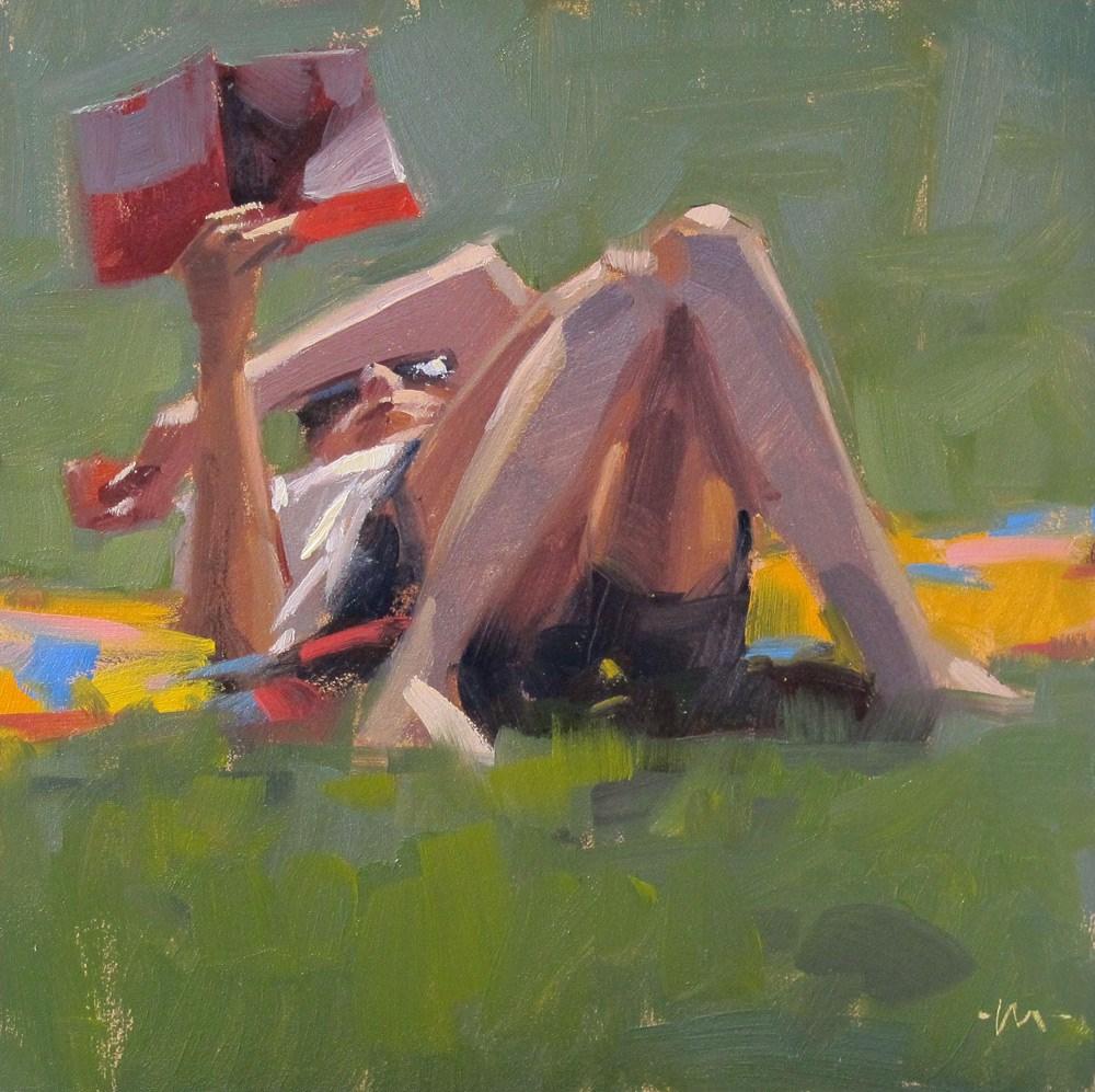 """""""A Good Day to Read"""" original fine art by Carol Marine"""