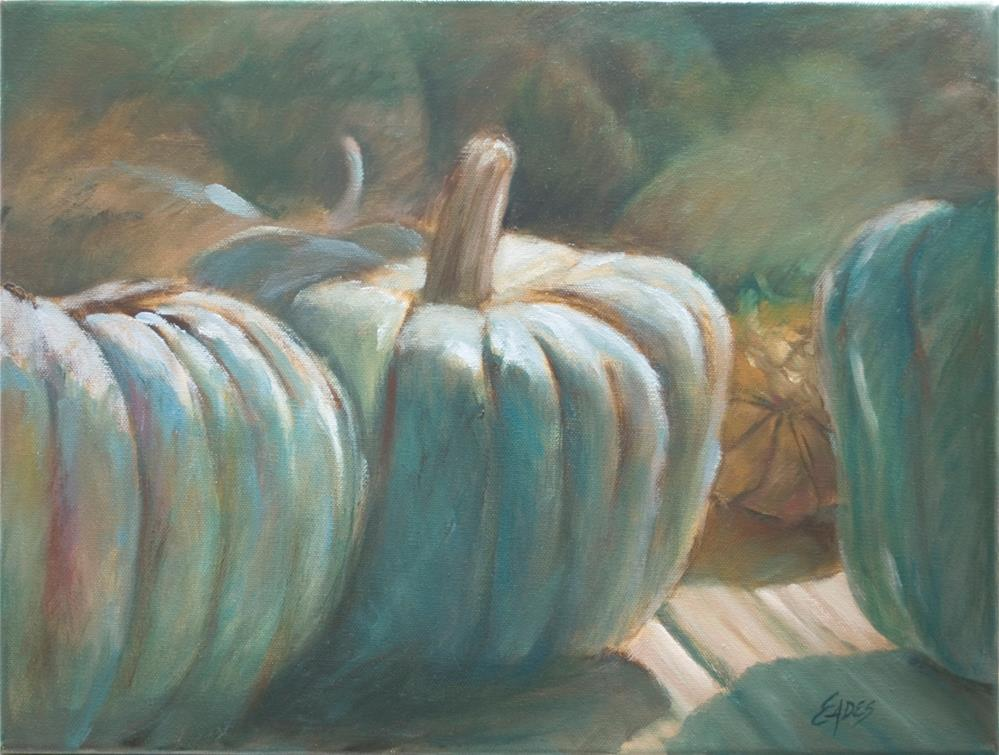 """Blue Pumpkins"" original fine art by Linda Eades Blackburn"