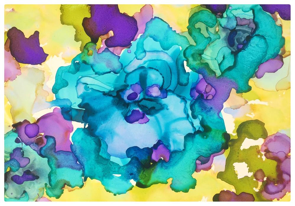 """Aqua Blosoms"" original fine art by Kelly Alge"