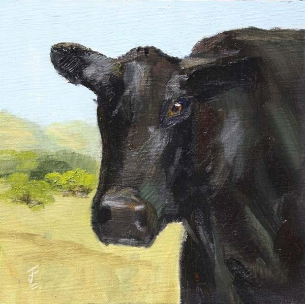 """""""Curious Bovine or Nosy Cow"""" original fine art by Jane Frederick"""