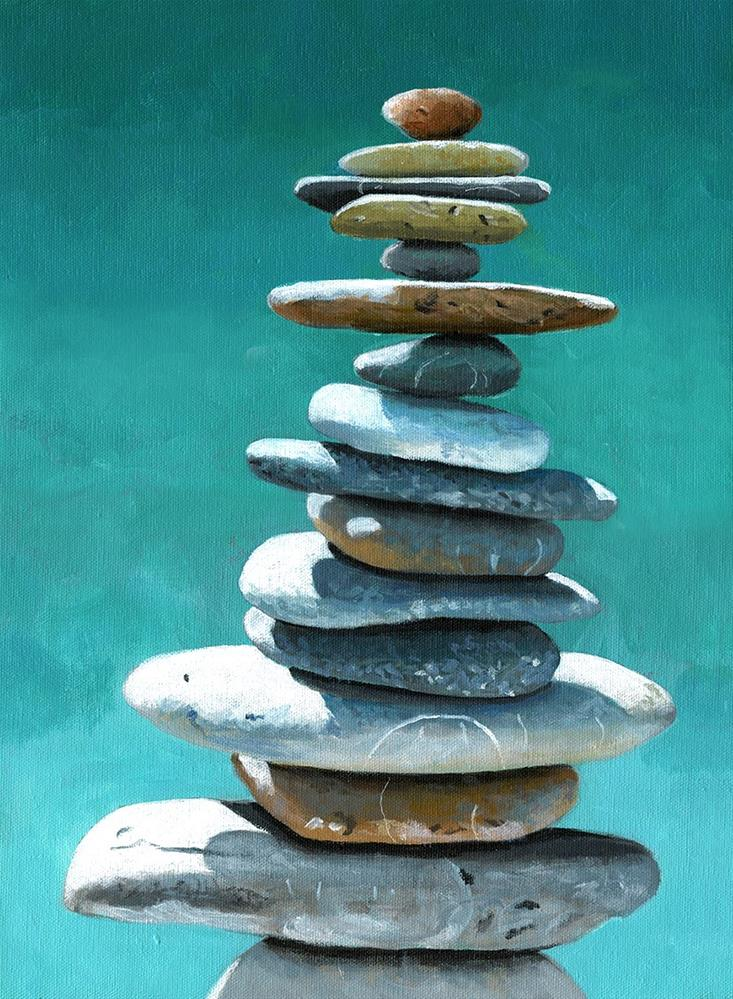 """Tall Stacked Cairn"" original fine art by Ria Hills"