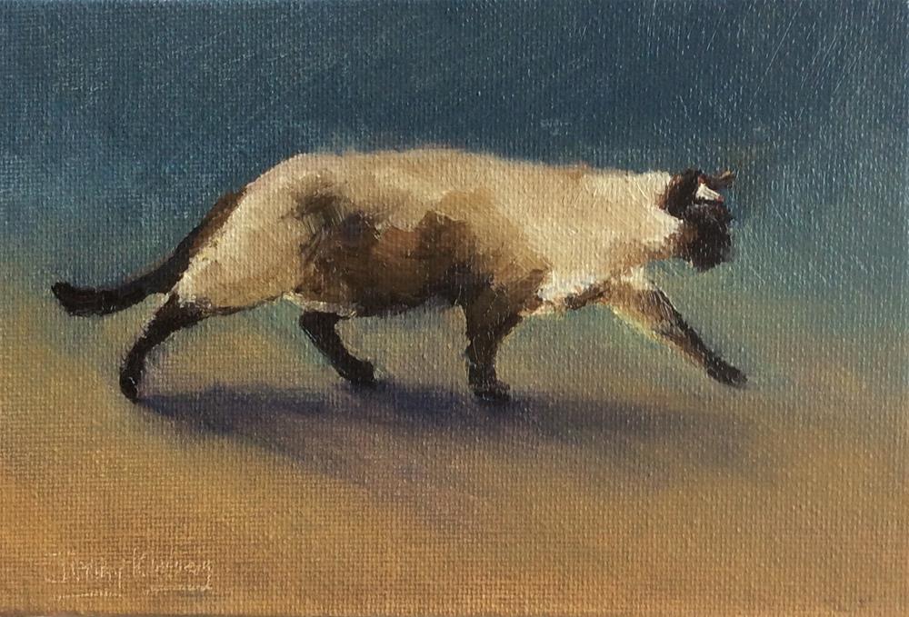 """Cat Walking"" original fine art by Jenny Kinberg"
