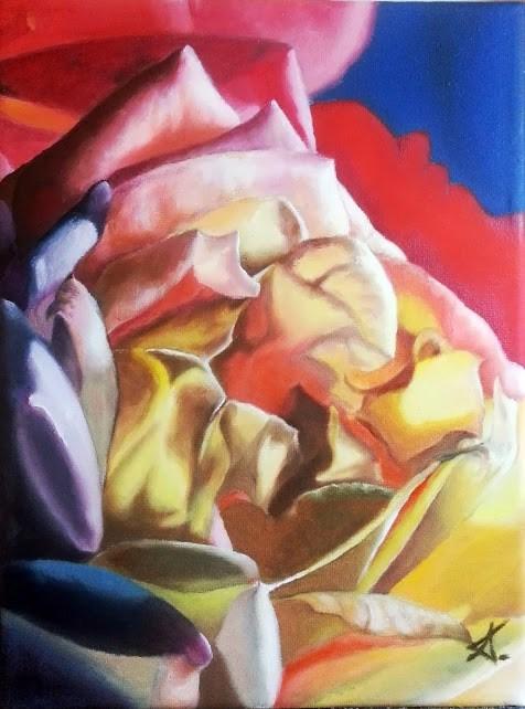 """The rose of many colors"" original fine art by Konstantia Karletsa"