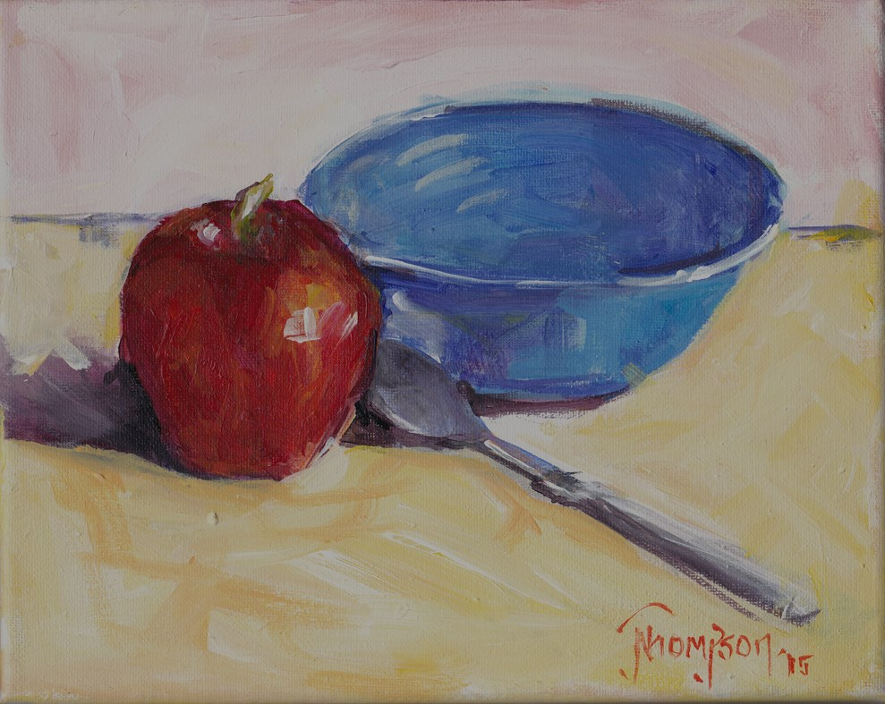 """""""Bowl and Apple"""" original fine art by Norma Thompson"""